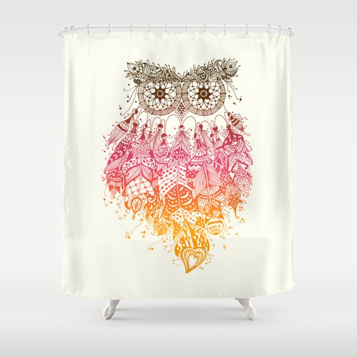 Orange Dream Catcher Shower Curtain