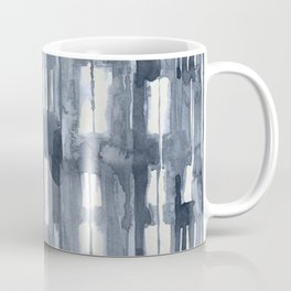 Simply Shibori Lines in Indigo Blue on Lunar Gray Coffee Mug