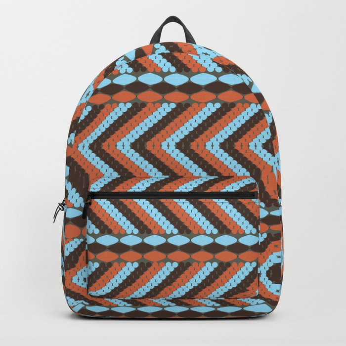 African abstract retro tribal   pattern.Turquoise and brown. Backpack