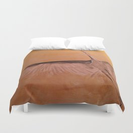 Wood Crane gold sky painting on wood Duvet Cover