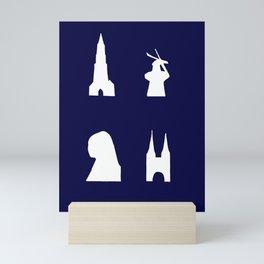 Delft silhouette on blue Mini Art Print