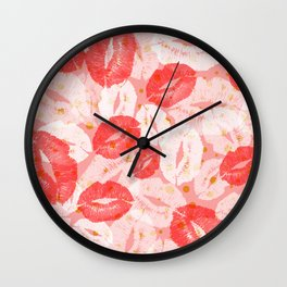 Pink Kisses Wall Clock