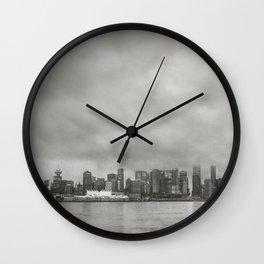 Vancouver Raincity Series - Raincity i - Moody Downtown Vancouver Cityscape Wall Clock