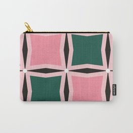 Large pink and dark green squares pattern. Carry-All Pouch