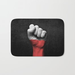 Polish Flag on a Raised Clenched Fist Bath Mat