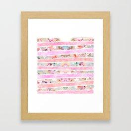 Modern floral watercolor girly pastel pink stripes Framed Art Print
