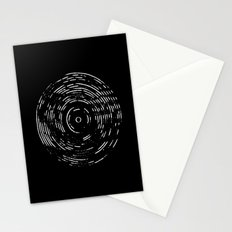 Record White on Black Stationery Cards