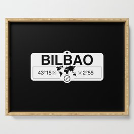 Bilbao Basque Country with World Map GPS Coordinates Serving Tray