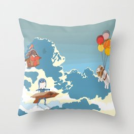 A boy, a box and two bassets hounds_Sky Throw Pillow