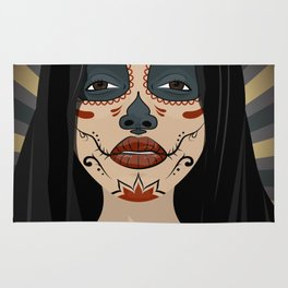 Mexican girl in tattoo style with traditional make-up Rug