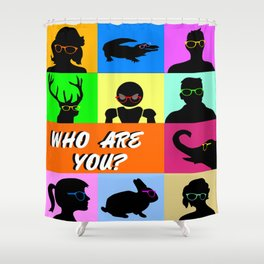 Social Network Profiles with the eternal question: Who are you? Shower Curtain