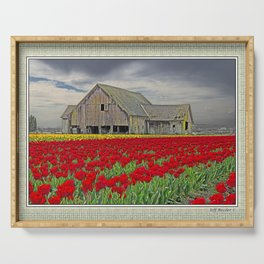 RED TULIPS AND BARN SKAGIT FLATS Serving Tray