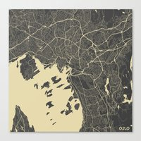 oslo Canvas Prints featuring Oslo Map by Map Map Maps