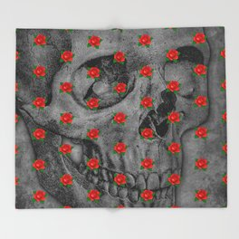 No Bed of Roses / Skull and rose design Throw Blanket