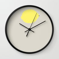 lemon Wall Clocks featuring Lemon by Rue du chat qui peche