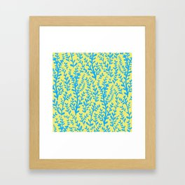 Yellow and Blue Floral Leaves Gouache Pattern Framed Art Print