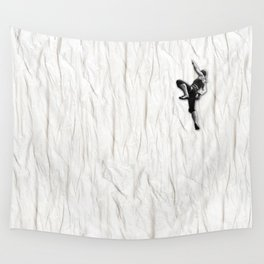 Woman Climbing a Wrinkle Wall Tapestry