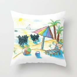 The reality is carrying by the storm your dreams about vacation Throw Pillow