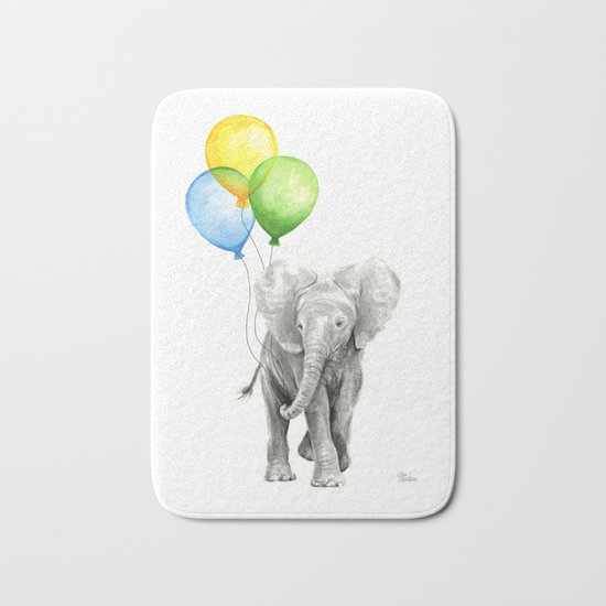 Elephant Watercolor Baby Animal with Balloons - Blue Yellow Green Bath Mat