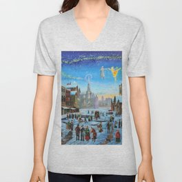 "A Christmas Carol ""Scrooge and the ghost of Christmas past"" Unisex V-Neck"