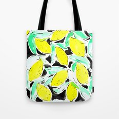 Bold Lemons Black Tote Bag