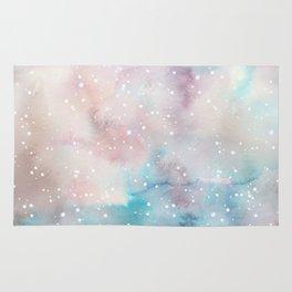 Elegant pastel pink aqua watercolor white snow polka dots Rug