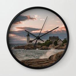 Annisquam Lighthouse sunset Wall Clock