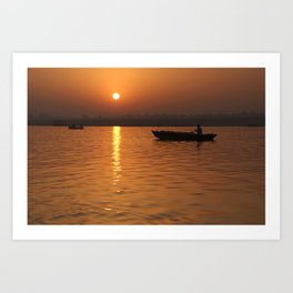 Sunrise on the Ganges Art Print