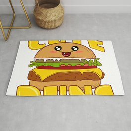 """Cute Buns"" Delicious Burger Hamburger T-shirt Design Patty Buns Grilled Charcoal Cooked Ham Rug"