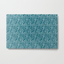Pale Blue Tiger Stripe Pattern on Tropical Dark Teal Inspired by Sherwin Williams 2020 Trending Color Oceanside SW6496 Metal Print