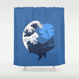 Wave megalodon Shower Curtain