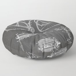Bicycle Patent - Cyclling Art - Black Chalkboard Floor Pillow