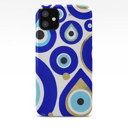 Evil Eye Charms on White iPhone Case