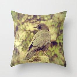 Summer Crow Throw Pillow