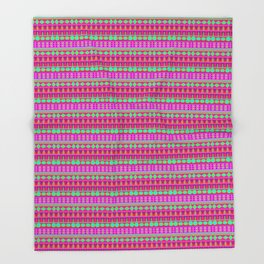 Aztec Tribal Motif Pattern in Pink, Lime and Fuchsia Throw Blanket