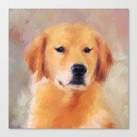 golden retriever Canvas Prints featuring Golden Retriever by Jai Johnson