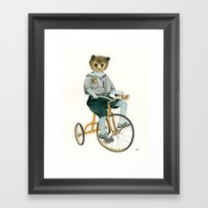 Bear on a Tricycle Framed Art Print