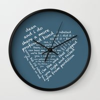 destiel Wall Clocks featuring Quotes of the Heart - Destiel (White) by fairy911911