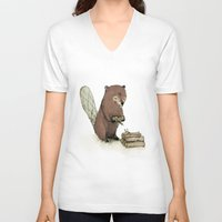 beaver V-neck T-shirts featuring Beaver. by Paola Zakimi