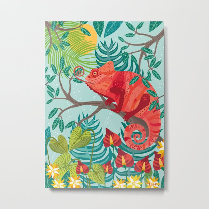 The Red Chameleon  Metal Print