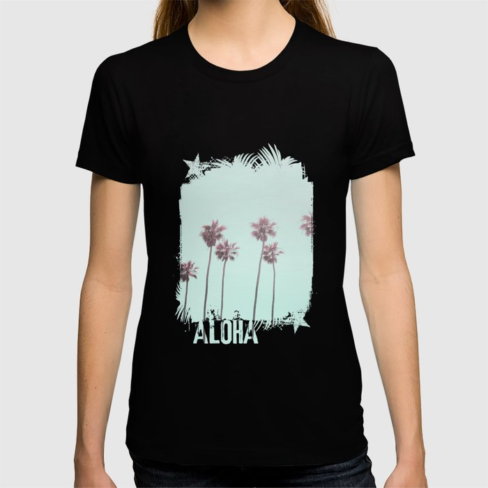 Pink Light Paradiese Beach Palm Trees Graphic T-shirt by Art4u - Black - X-LARGE - Womens Fitted Tee