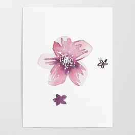 Lilac Pink Watercolour Fiordland Flower Poster