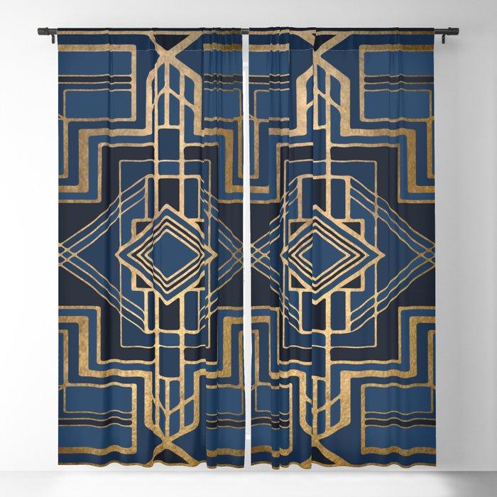 Art Deco Square Mondays In Blue Blackout Curtain