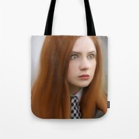 amy pond Tote Bags featuring AMY POND  by Kayla Theodorou
