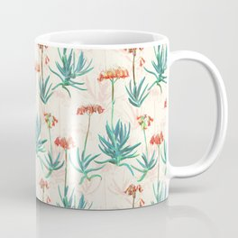 Flowering Succulent Pattern in Cream, Coral and Green Coffee Mug