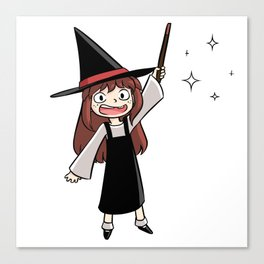 Cute witch girl Canvas Print
