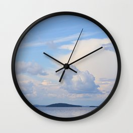 Blue Lakescape With White Clouds In The Blue Sky #decor #society6 Wall Clock