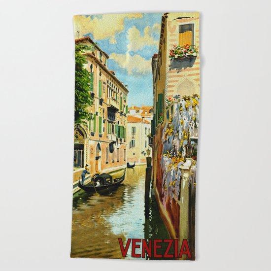 Venezia - Venice Italy Vintage Travel Beach Towel