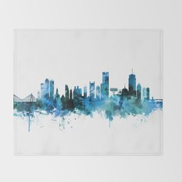 Boston Massachusetts Skyline Throw Blanket