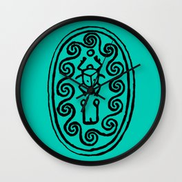 Ancient Egyptian Amulet Turquoise Blue Wall Clock